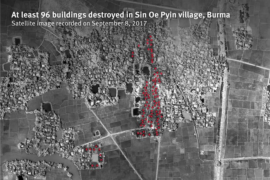 A satellite image recorded on Sept 8 showing at least 96 buildings destroyed in Sin Oe Pyin village, Myanmar.
