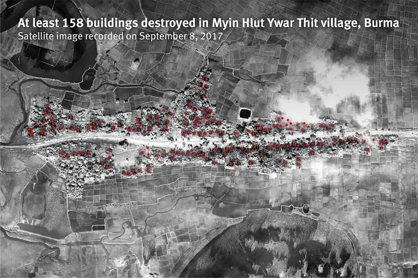 At least 158 buildings destroyed in Myin Hlut Ywar Thit village, Burma. Satellite image recorded on Sept 8, 2017.