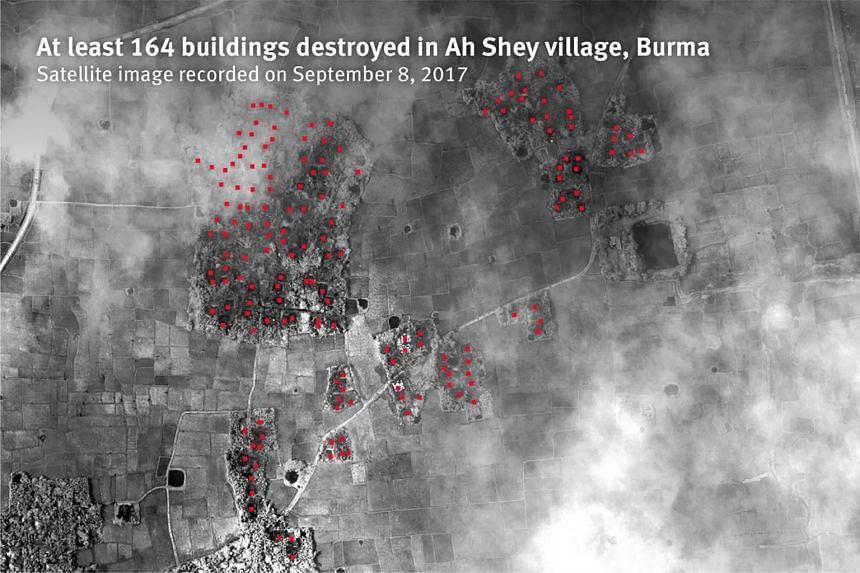At least 164 buildings destroyed in Ah Shey village, Burma. Satellite image recorded on Sept 8, 2017.
