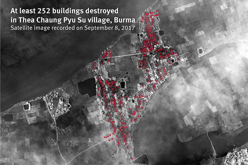 A satellite image recorded on Sept 8 showing at least 252 buildings destroyed in Thea Chaung Pyu Su village, Myanmar.