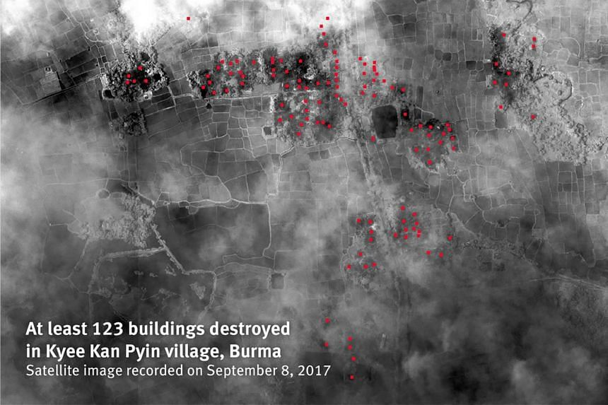 At least 123 buildings destroyed in Kyee Kan Pyin village, Burma. Satellite image recorded on Sept 8, 2017.