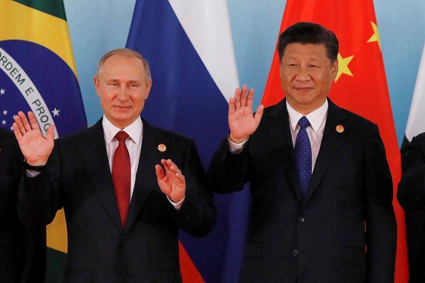 Russian President Vladimir Putin and Chinese President Xi Jinping in Xiamen, China on Sept 5, 2017.
