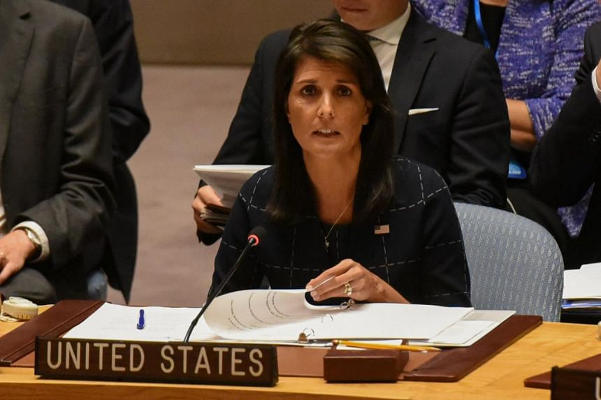 Nikki Haley delivers remarks during a United Nations Security Council meeting on North Korea in New York City, on Sept 11, 2017.
