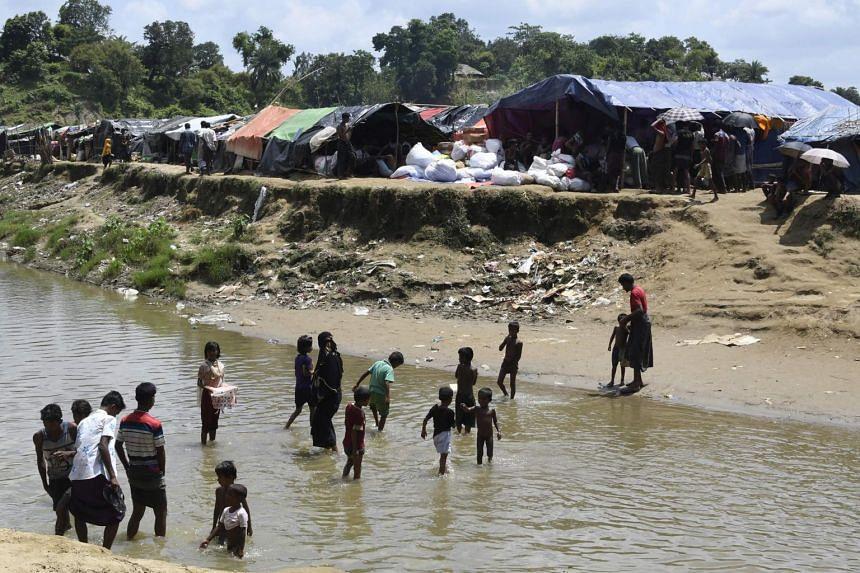 Rohingya refugees at the Jalpatoli refugee camp in the no-man's land area between Myanmar and Bangladesh, near Gumdhum village in Ukhia, on Sept 16, 2017.