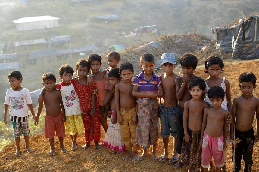 Rohingya children at the top of the Balukhali camp in Ukhiya, Bangladesh, on Sept 15, 2017.