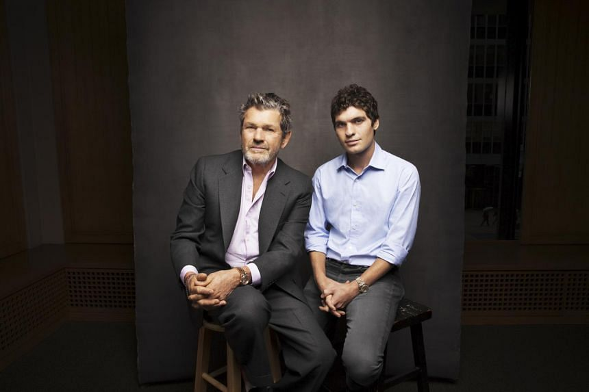 Jann Wenner (left), founder of Rolling Stone magazine, and his youngest son, Gus Wenner, at the magazine's headquarters in New York City, on Oct 13, 2016.