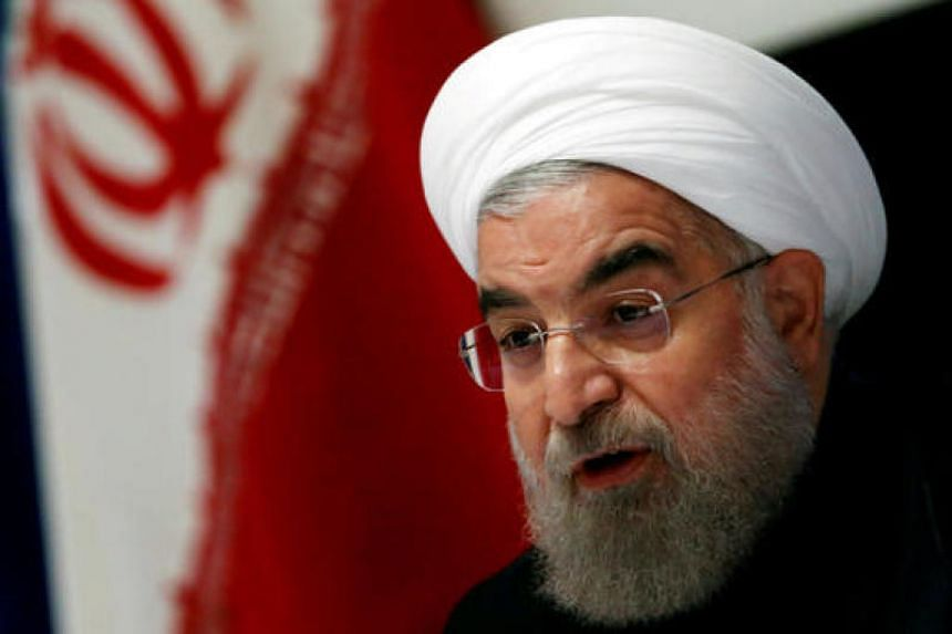 ranian President Hassan Rouhani takes part in a news conference near the United Nations.