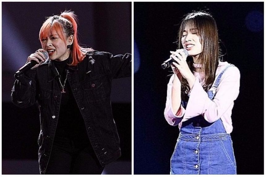 Professional singer Cherelle Tan (left) was picked by Taiwanese singer Sky Wu, but business and communications undergraduate Lim Yan Xin was not selected by any of the judges.