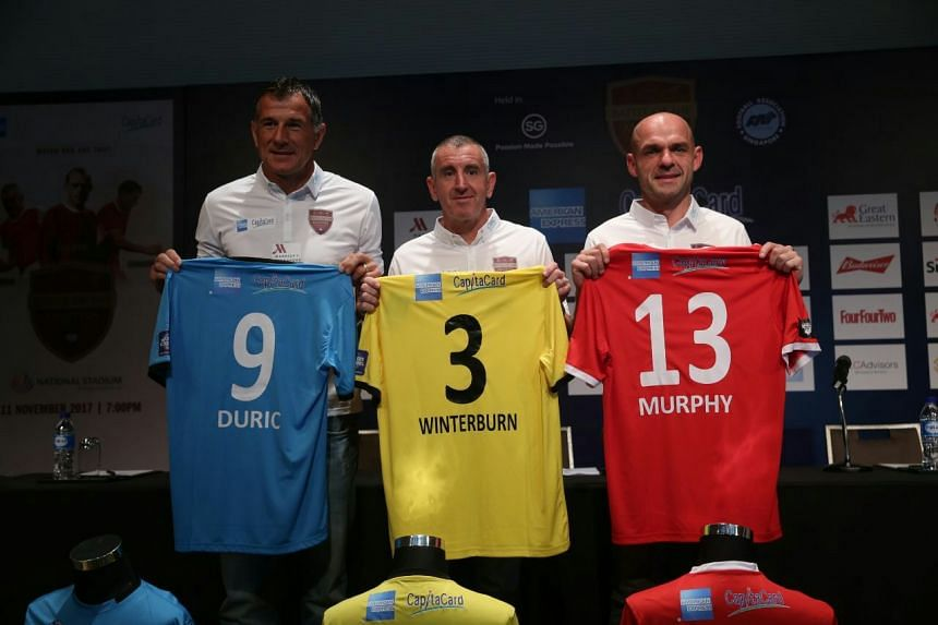(From left) Aleksandar Duric, Nigel Winterburn and Danny Murphy at the Battle of the Masters pre event press conference held at the Singapore Marriot Tang Plaza Hotel on Sept 19, 2017.