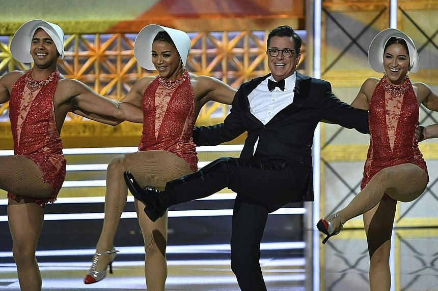 Host Stephen Colbert (above) declared United States President Donald Trump the biggest story of the year in television.