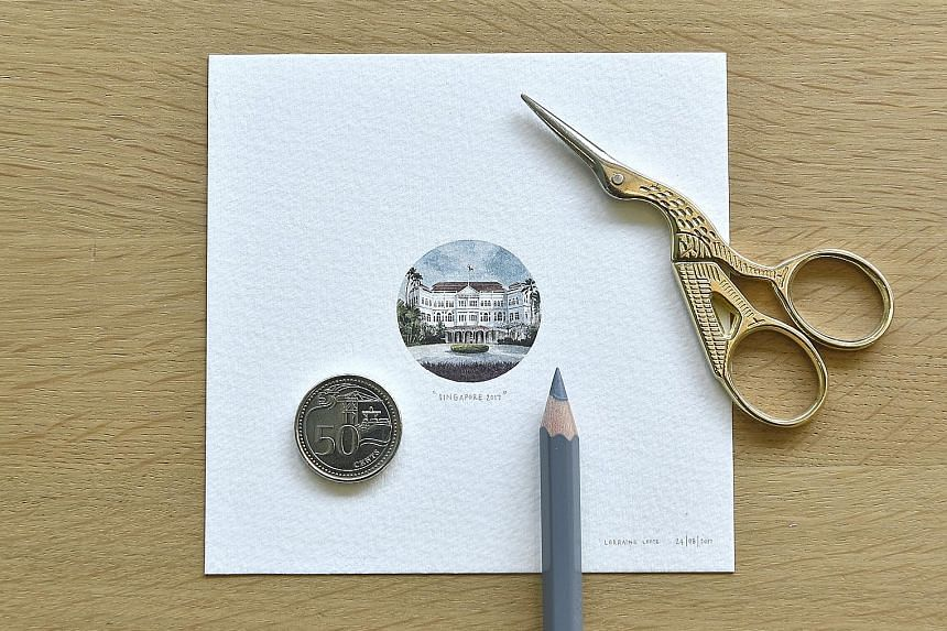 The works by Lorraine Loots on display in Singapore include one of the Raffles Hotel (above) that is slightly larger than the size of a 50-cent coin.