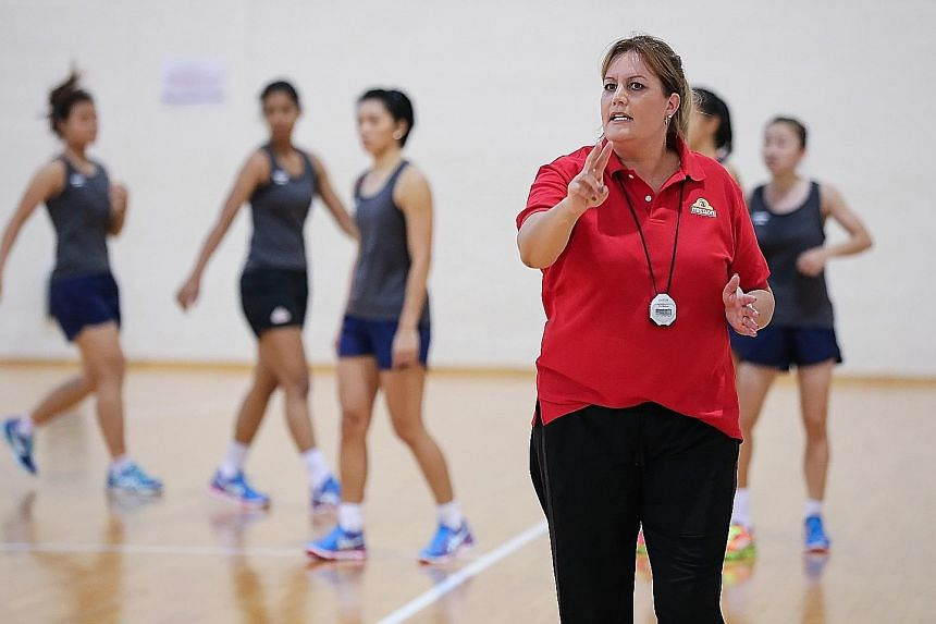 New Singapore netball head coach Natalie Milicich, at training last week, is impressed with the commitment of the players.