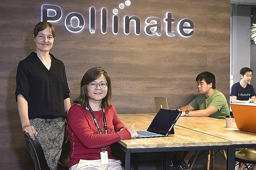 Ms Britta Hummel and Ms Lee Ling Chong of 3PlayGrounds, a start-up at Pollinate that organises adventure tours and allows outdoor enthusiasts to find fellow travellers. Pollinate, which started operations in July, is targeted at start-ups that have p