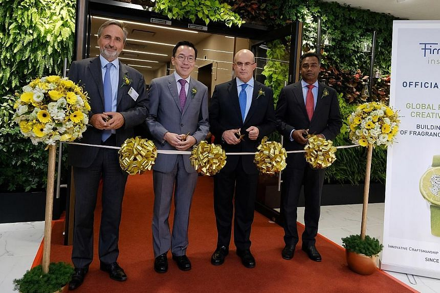 Firmenich's new creative centre was officially opened yesterday by (from left) its president of perfumery and ingredients Armand de Villoutreys, Singapore Economic Development Board chairman Beh Swan Gin, Firmenich CEO Gilbert Ghostine and general ma