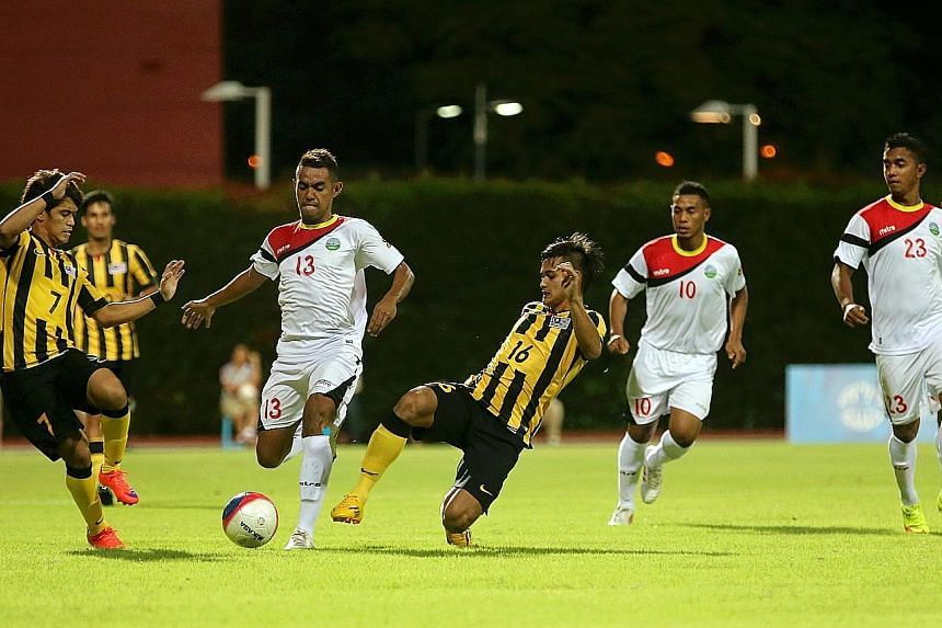 A SEA Games 2015 football match between Malaysia and Timor Leste on May 30, 2015, where Malaysia won 1-0. A Singaporean was jailed for attempting to fix a match between the two countries in that year.