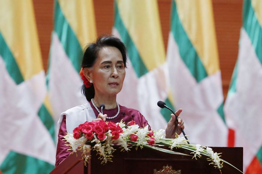 Myanmar's State Counsellor Aung San Suu Kyi giving a speech on the Myanmar government's efforts with regard to national reconciliation and peace in Naypyitaw, Myanmar, on Sept 19, 2017.