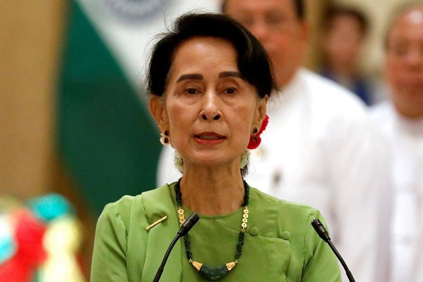 Myanmar State Counselor Aung San Suu Kyi talks during a news conference in Naypyitaw, Myanmar, on Sept 6, 2017.