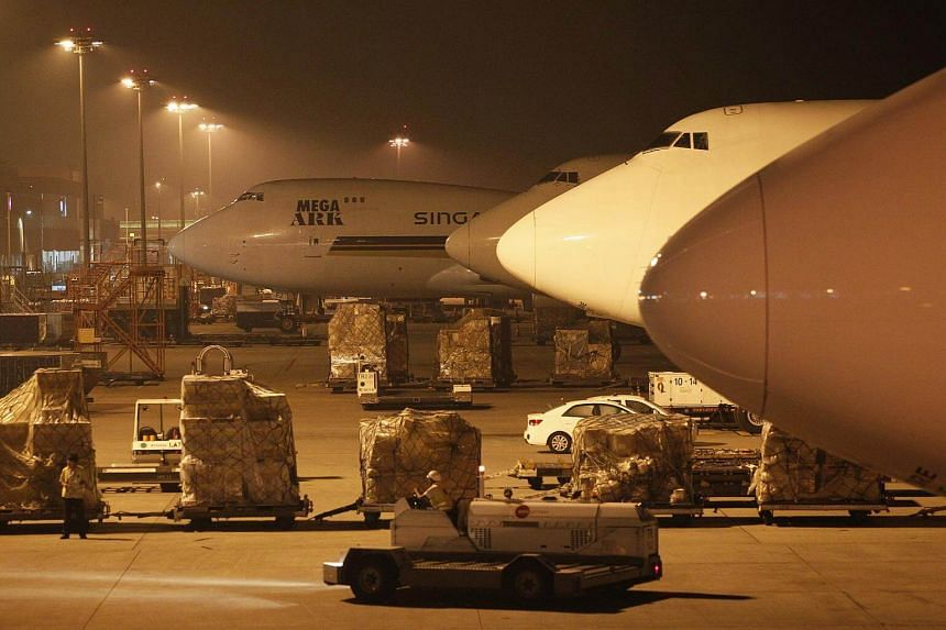 Singapore Airlines cargo planes at the Changi Aiport Cargo Terminal.