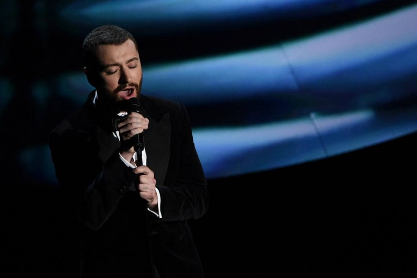 British singer Sam Smith performing on stage at the 88th Oscars in Hollywood, California on Feb 28, 2016.