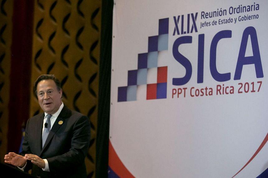 Panamanian President Juan Carlos Varela at a meeting of the Central American Integration System in San Jose, Costa Rica on June 29, 2017.