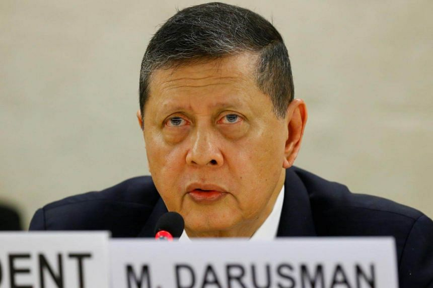 Marzuki Darusman, President of the Fact-Finding Mission on Myanmar, addresses the 36th Session of the Human Rights Council at the United Nations in Geneva, Switzerland on Sept 19, 2017.