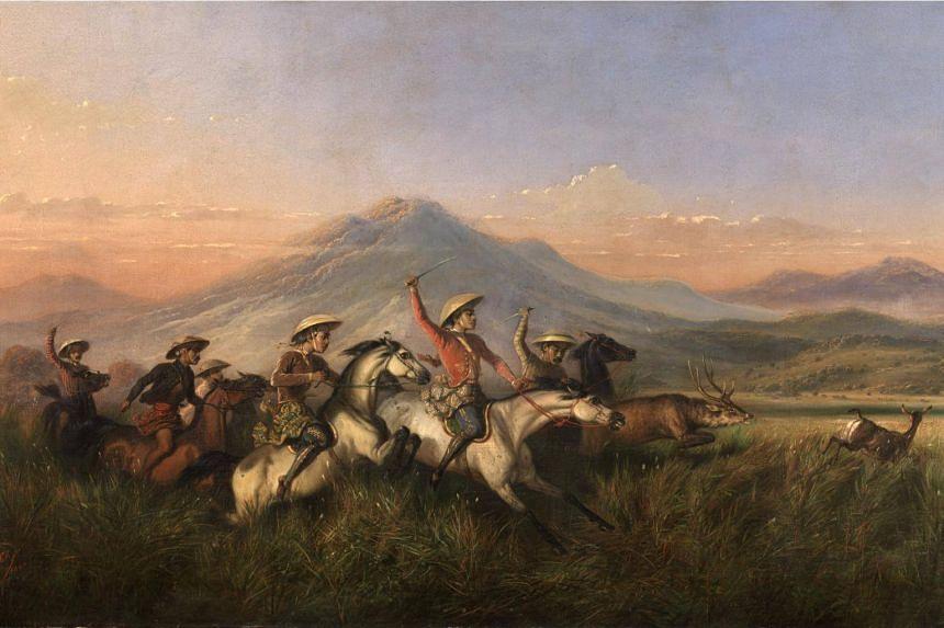 Six Horsemen Chasing Deer by Raden Saleh