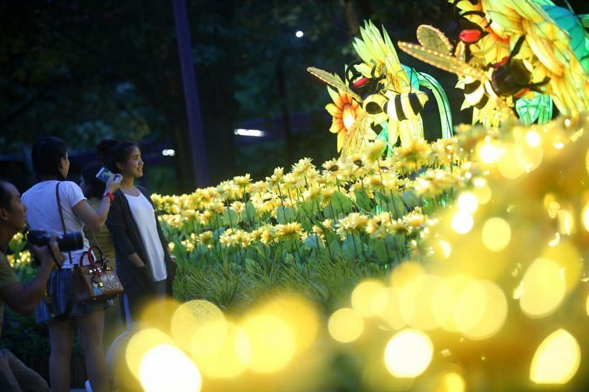 Visitors look at a display of bees and flowers at the Field of Sunshine set.