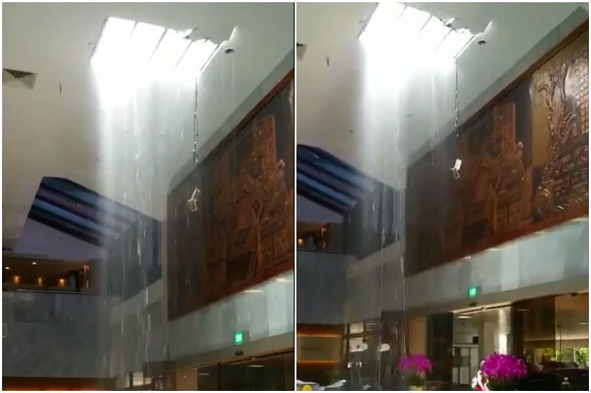 The clip, posted on Facebook by several users on Tuesday (Sept 19), shows water pouring from the ceiling.