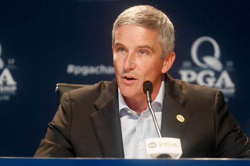 PGA TOUR commissioner Jay Monahan speaks during a press conference prior to the 2017 PGA Championship at Quail Hollow Club on Aug 8, 2017 in Charlotte, North Carolina.