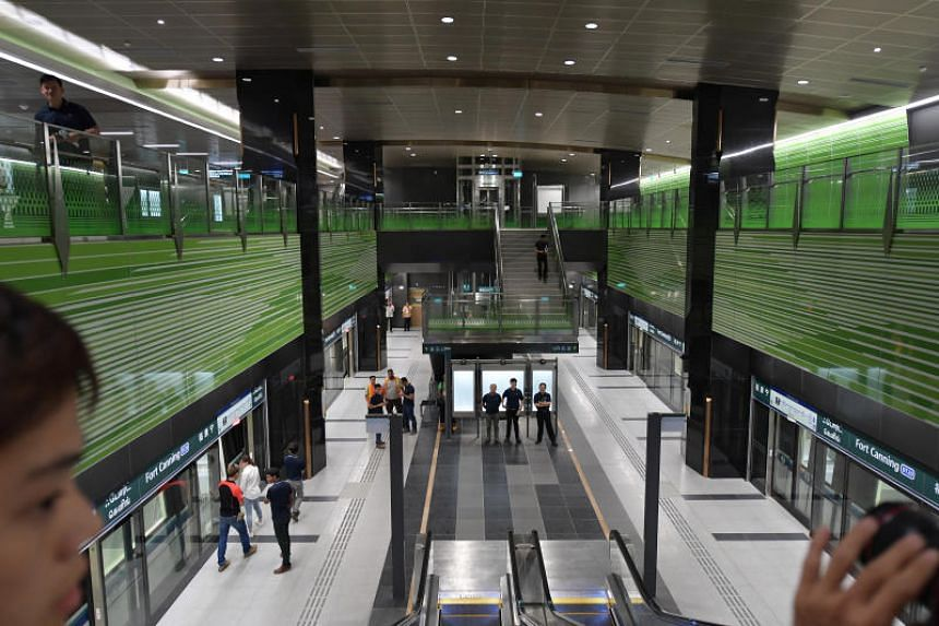 The interior of Fort Canning Station, one of the MRT stations along the Downtown Line 3 (DTL3).
