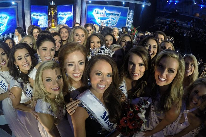 Participants of the Miss America 2018 Pageant. The top five finalists at the pageant all faced politically charged questions on complex current events.