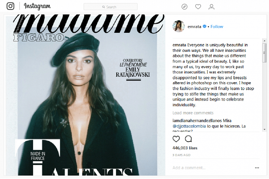 """""""I was extremely disappointed to see my lips and breasts altered in Photoshop on this cover,"""" the 26-year-old star of Gone Girl told her 15 million followers on Instagram."""