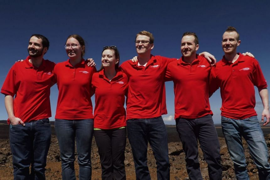 The Hi-Seas V crew poses for a group photo after completing their mock Mars mission.