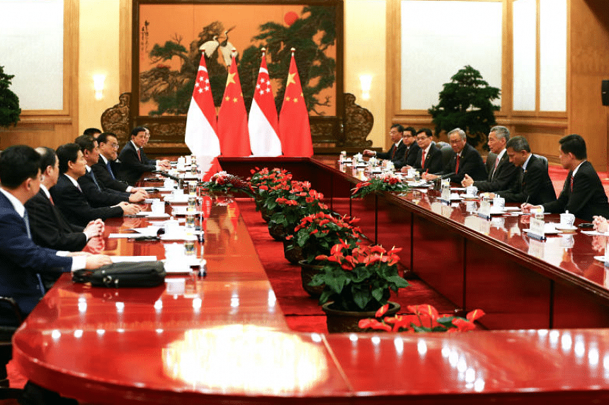 PM Lee Hsien Loong attends a meeting with Chinese Premier Li Keqiang on Sept 19, 2017.