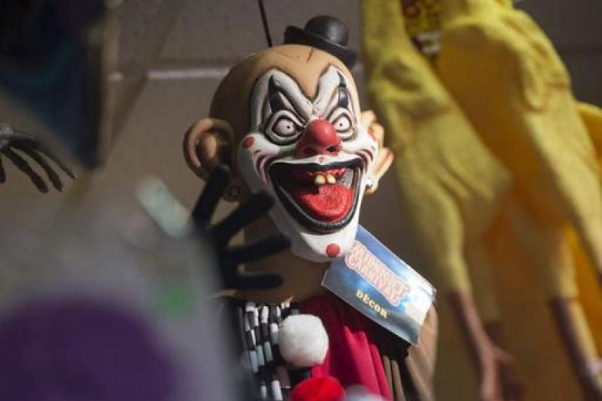 Clown masks like this one at aTotal Party store in Arlington, Virginia, are expected to be popular this Halloween given the popularity of the movie It.