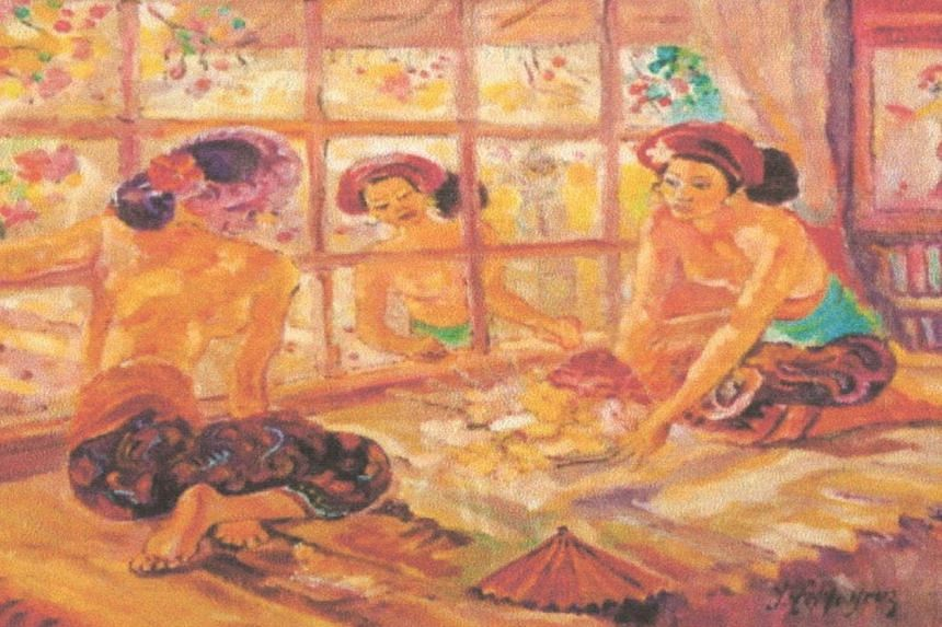 Among the paintings that Mr Denis Latimer bought were what were described to him as Balinese Women At Sanur Cottage by Adrien-Jean Le Mayeur (above); Morning Prayer, 1973 by Affandi; and Rojak Seller by Lee Man Fong.