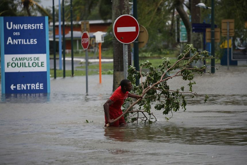 A man removes a branch in a flooded street after the passage of Hurricane Maria in Pointe-a-Pitre, Guadeloupe.