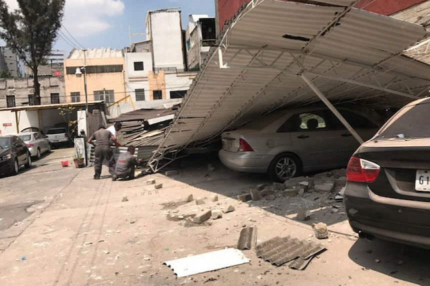 Damage is seen after an earthquake hit in Mexico City.