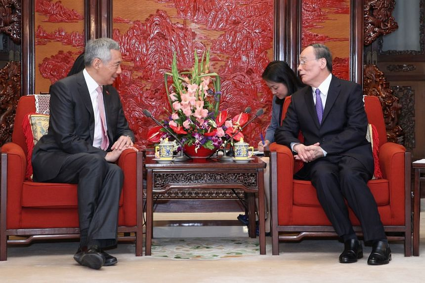 Prime Minister Lee Hsien Loong meets China's Secretary of the Central Commission for Discipline Inspection Wang Qishan at Zhongnanhai, in Beijing, on Wednesday, Sept 20, 2017. Mr Wang said that for him personally, Singapore is among the countries wit