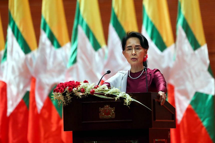 Myanmar's State Counsellor Aung San Suu Kyi delivers a national address in Naypyidaw on Sept 19, 2017.