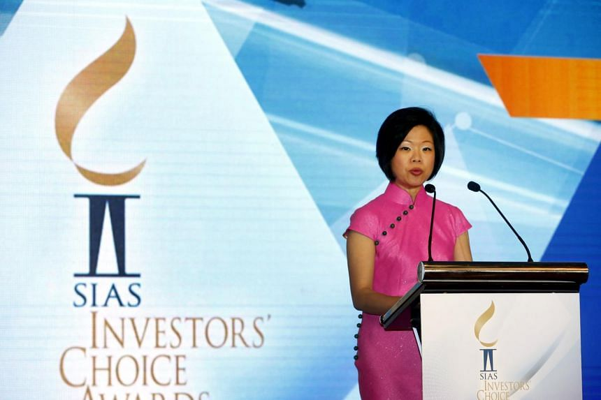 Senior Minister of State Sim Ann delivering a speech at the Securities Investors Association (Singapore) 18th Investors Choice Awards Dinner Presentation Ceremony on, 19 Sept, 2017.