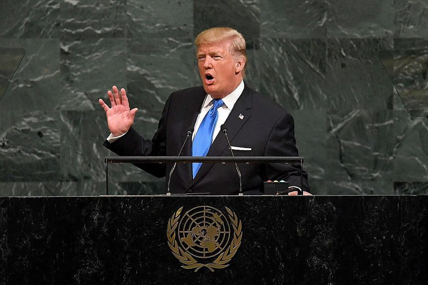 US President Donald Trump addressing the UN General Assembly in New York yesterday.