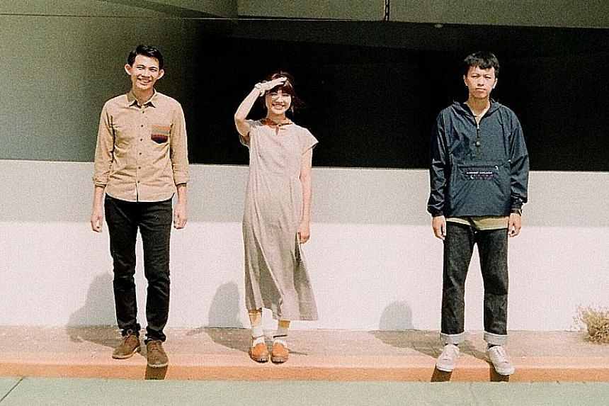 Taiwanese band Elephant Gym comprise (from far left) Tell Chang Kai-hsiang, Tif Chang Kai-ting and Tu Chia-chin.
