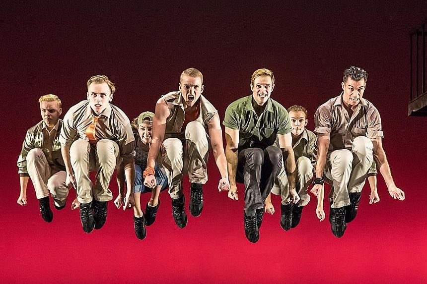 West Side Story by director- choreographer Joey McKneely is packed with lifts, jumps and finger-snapping. The crouch jump (above) is one of the show's iconic moves.