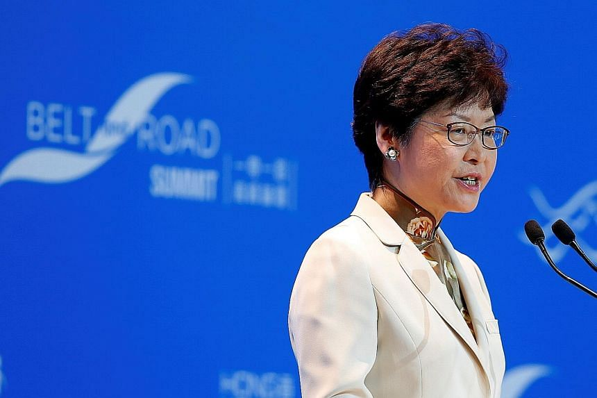 """Hong Kong Chief Executive Carrie Lam at last week's Belt and Road Summit. Yesterday, she said the calls for autonomy """"violated"""" the city's Basic Law, but that the government did not want to intervene on university campuses."""