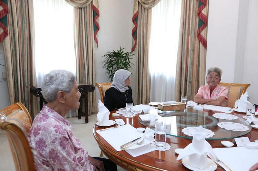 President Halimah Yacob invited Madam Sim Goon Hua and Madam Lim Ah Kheoh to lunch at the Istana to thank them for their support.