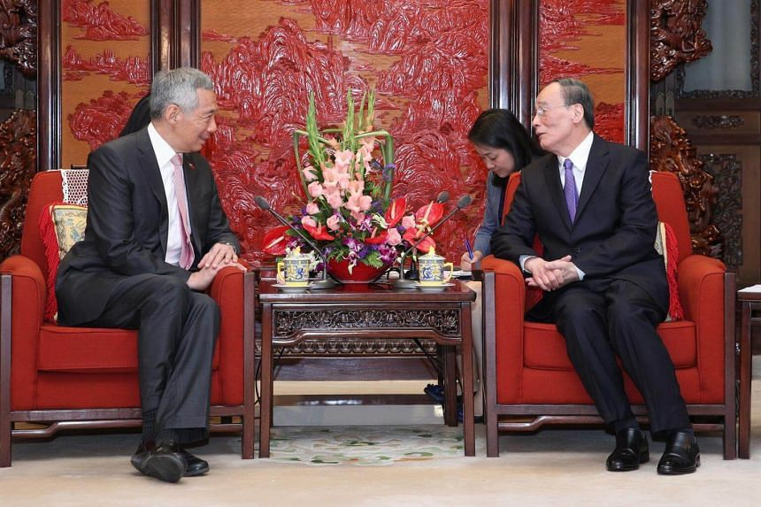 Prime Minister Lee Hsien Loong meets Secretary of the Central Commission for Discipline Inspection Wang Qishan at Zhongnanhai, Beijing, People's Republic of China, on Sept 20, 2017.