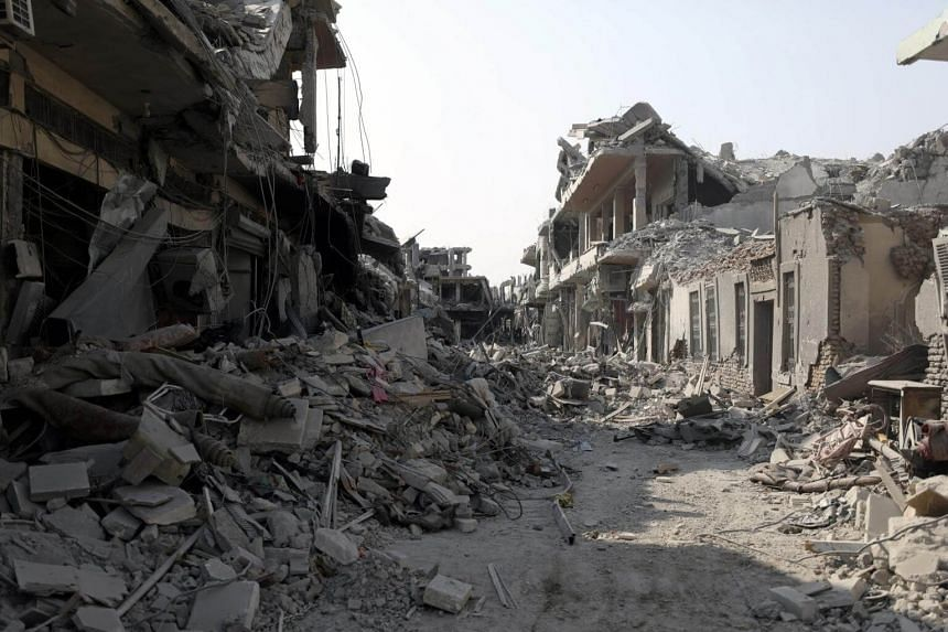 A view of a damaged site is seen in Raqqa, Syria on Sept 16, 2017.
