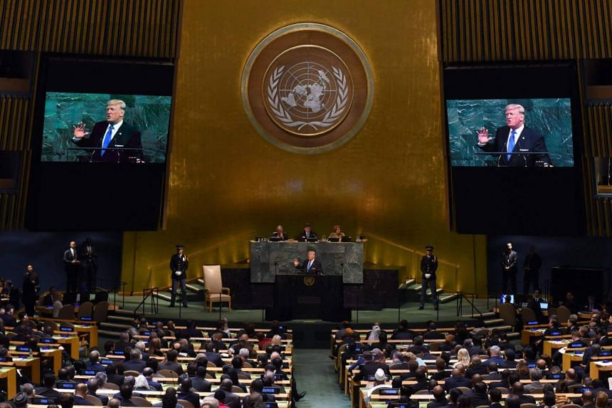 """In his first speech to the UN General Assembly on Tuesday, Mr Trump called Iran """"a corrupt dictatorship"""" and accused it of supporting terrorism and destabilising the Middle East."""