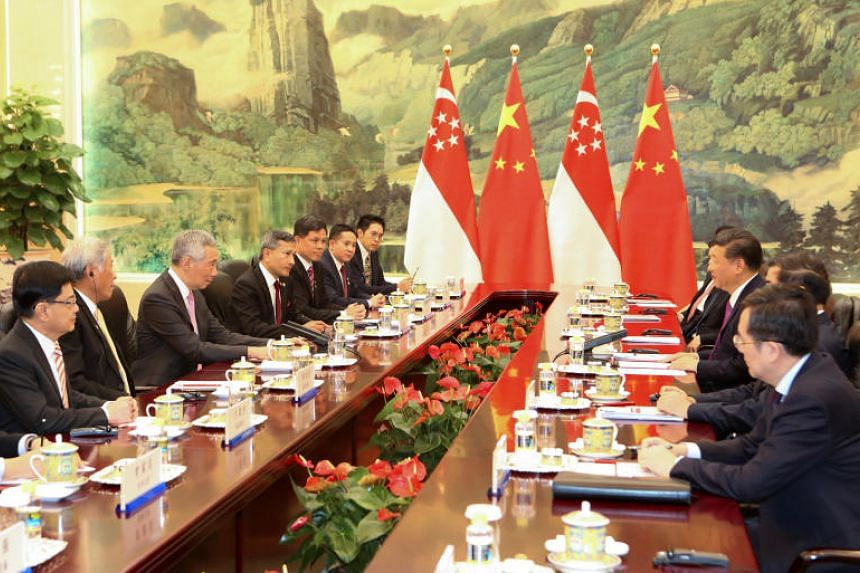 PM Lee Hsien Loong attends a meeting with Chinese President Xi Jinping at Great Hall of the People in Beijing.